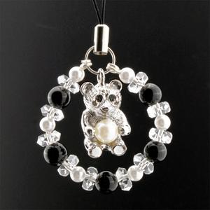 【幸運と癒やしの象徴】天然石 白水晶&オニキス お願いパンダストラップ(6mm)