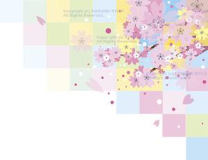 桜と格子模様の背景_aiデータ(ベクター画像)