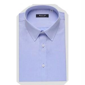 送料無料メンズ/ビジネス/パステルブルー/シャンブレーコットン半袖ワイシャツ