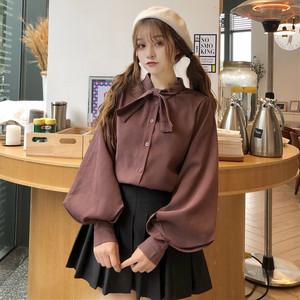 【トップス】無地スウィート春秋リボンバンド飾りランタンスリーブ長袖シャツ