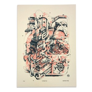 "NEARSKI screen print ""naniwa-ku"" (pink)"