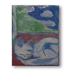 【油絵】「猫と窓外の景色」F0号 油絵、絵画、美術