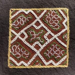 刺繍コースター 15x15cm Xmas 3 泥染め刺繍 プレイスマット 両面草木染め