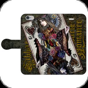 #020-001 iPhone8対応 先行発売 綺麗系・ファンタジー系《Queen Of Black Heart》 手帳型iPhoneケース  作:由乃夢朗