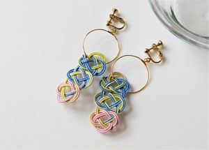 水引《あわじ結びのフープイヤリング/ピアス》 Color:マーブル