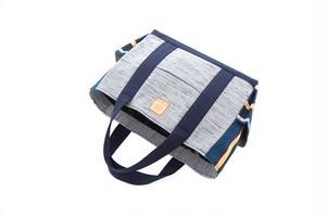 帯トートバッグ大 / 紺・グレー(W0107)着物・帯・正絹使用