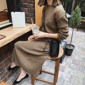Simple Knit Dress (Brown)