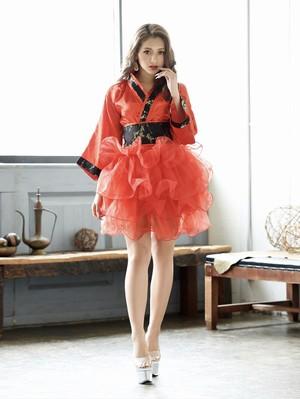 セットアップ着物ドレス ゆきぽよ 着用【Ryuyu】チュールスカート2p和柄ドレス