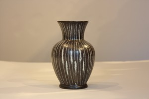 West Germany Art Pottery Striped Vase Fat Lava