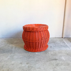 Vintage Paint Rattan Basket 70's オランダ