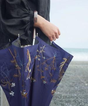 【ボタニカル刺繍】雨天兼用日傘 (ELS47 NVY/ネイビー)