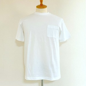 Combed Sheeting Material Over-Wrapped Neck Glasses Pocket S/S Tee White