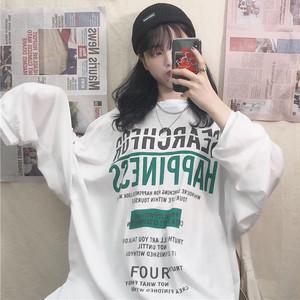 【トップス】ラウンドネックプリント長袖アルファベットTシャツ22406134