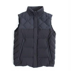 Mix Quilt Down Vest -Black