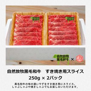 【グラスフェッドビーフ】自然放牧黒毛和牛 すき焼き用スライス 250g×2パック【産地直送】