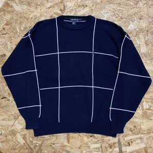 1990's NAUTICA Graph Check Cotton Knit Sweater 【19111612】