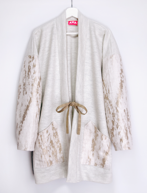 White gold wool haori coat