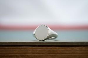 Oval Signet Ring(Sterling Silver(Sv925))