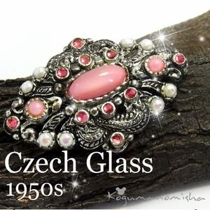 ヴィクトリアン復刻★ピンク ムーングロウ ボヘミアンガラス ヴィンテージ ブローチ 1950s 大ぶり ひし形