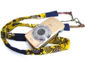 カメラストラップ 2㎝巾 コンパクトカメラ&携帯用 両面 紅型デザイン 反物 波 黄色
