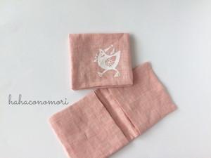 サニタリーケース♡リネン、ピンク、オリジナルデザインのトリ