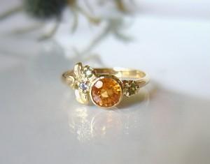 オレンジの滴のような天然ガーネットの指輪(K14)