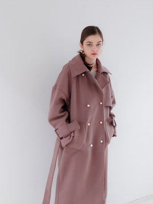 back fastener wool trench(baked pink)