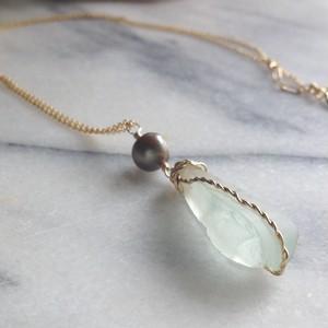 Sea Glass*Pearl Necklace 14Kgf