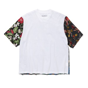 FLOWER PRINTED PATCHWORK T-SHIRT -WHITE