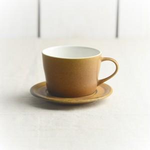 美濃焼 コーヒーカップ&ソーサー カラメルブラウン