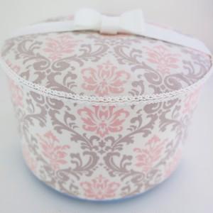 ペットの可愛い骨壷 4寸 クラシック ピンク&グレー