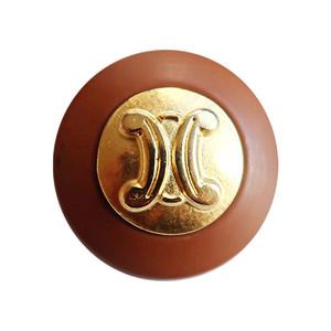 【VINTAGE  CELINE BUTTON】ブラウンフレーム ゴールドロゴボタン  2.1cm L-19018