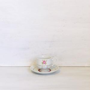 【R-447】デットストック レトロ薔薇パールカップ&ソーサー