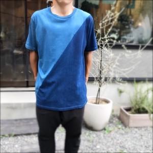 藍染メンズTシャツ L/ ナナメ ・solosolo
