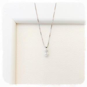 <K18WG>ダイヤ2粒ネックレス