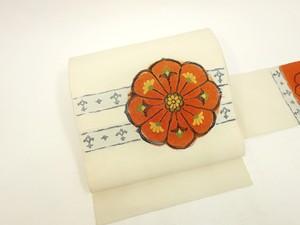 ☆9998☆ 中古品 八寸帯 紬地 大胆な花模様 愛らしい