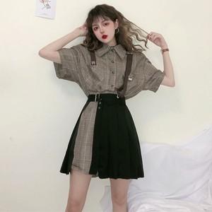 【セット】シンプル半袖シングルブレストPOLOネックシャツ+スカート28090994