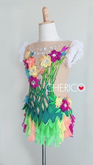 【140】3Dフラワーモチーフ/パフスリーブ/colorfulフリルスカート