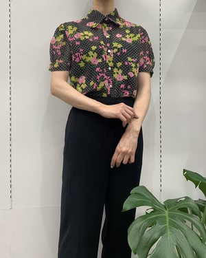 1980s TRY1 flower × dot print puff sleeve see-through shirt【S位】