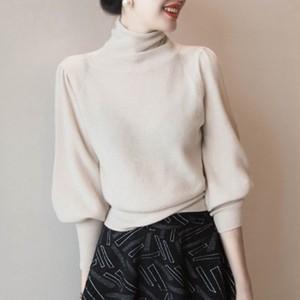 【トップス】ハイネック大人気パフスリーブ おしゃれ ファッション  ニットセーター25084902