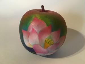パステル画のアートりんご/桃色の蓮