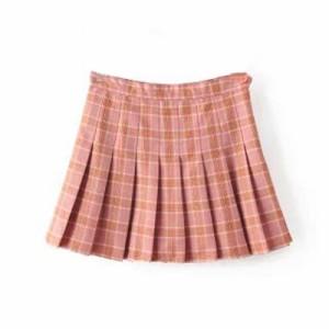タータンチェック柄プリーツスカート 2色 ピンク ネイビー マイクロミニ丈 スカパン インナーパンツ ガーリー 可愛い 学生服 制服