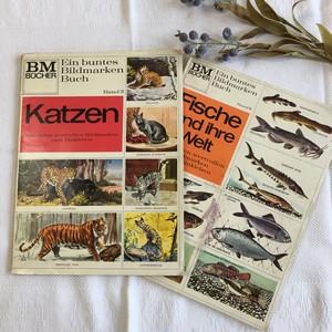 ドイツ・古書のコレクションブック 野生動物 魚 2冊組(B)