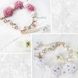 【プルメリア】(ピンク、ホワイト)ブレスレット
