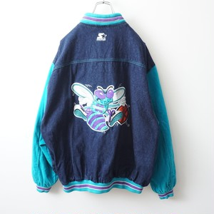 STARTER NBA Charlotte Hornets denim stadium jacket 1938