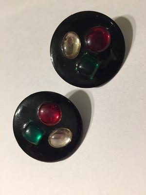 Vintage black × bijou pierced earrings ( ヴィンテージ  ビジュー ピアス)