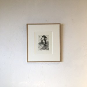 [版画アマビエ展]安藤真司 「桜咲く頃に」ANDO Shinji,etching