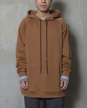T/f loose fit cardboard hoodie - dark sand