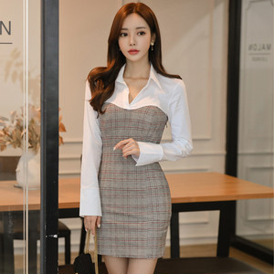 【ワンピース】ファッション配色チェック柄切り替えVネックデートワンピース17501159