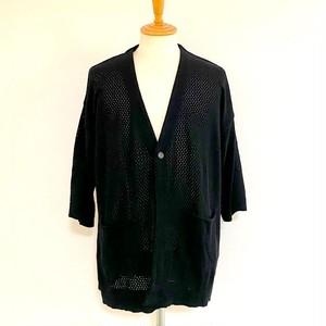 Mesh Braided Knit Cardigan Black